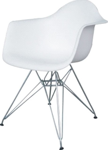Fine Mod Imports Wireleg Dining Arm Chair, White.