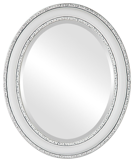 Dorset Framed Oval Mirror in Linen White, 21x27 by The Oval & Round Mirror Store