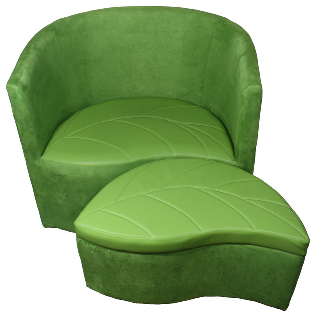 29 Quot Tall Accent Chair With Ottoman Green Suede