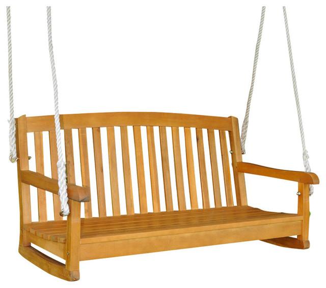 Royal Tahiti Yellow Balau Hardwood Two-seater Swing With Curved Back-Dark Honey
