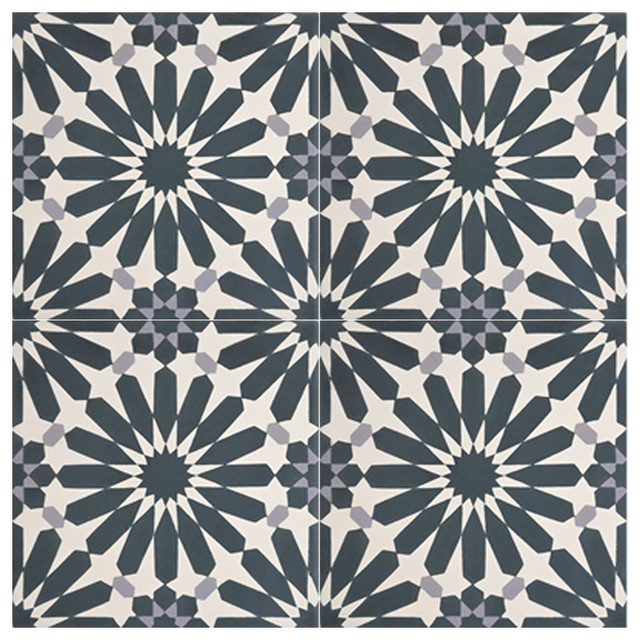 Marrakesh Cement Tiles Navy Blue And White Set Of 12