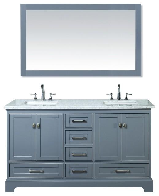 """Newport Gray 60"""" Double Sink Bathroom Vanity With Mirror."""