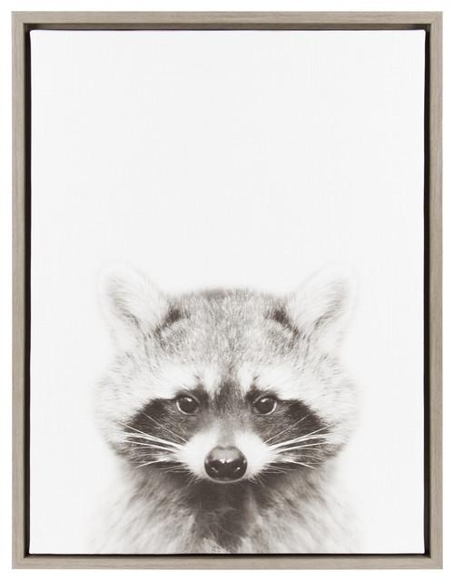 Sylvie Raccoon Portrait Framed Canvas Wall Art By Simon