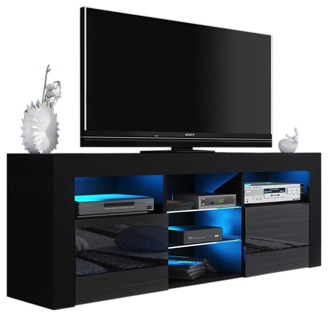 "Milano 145 Modern 65"" Tv Stand Matte Body High Gloss Fronts, Led, Black."