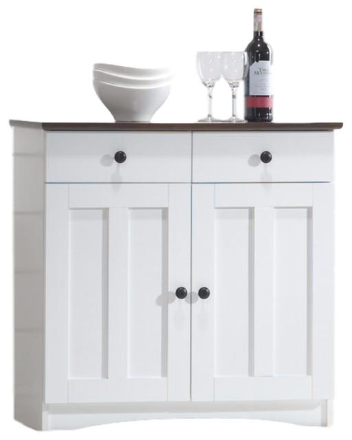 Lauren White And Dark Brown Buffet Kitchen Cabinet 2 Doors And 2