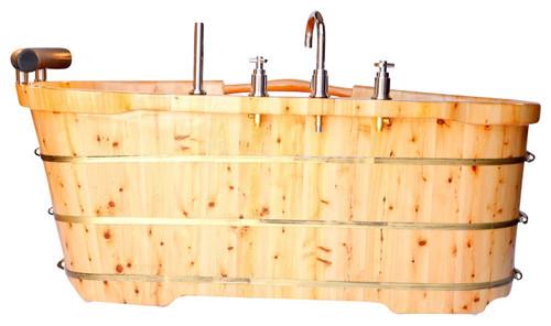 Alfi Freestanding Bathtub With Headrest, Cedar Wood