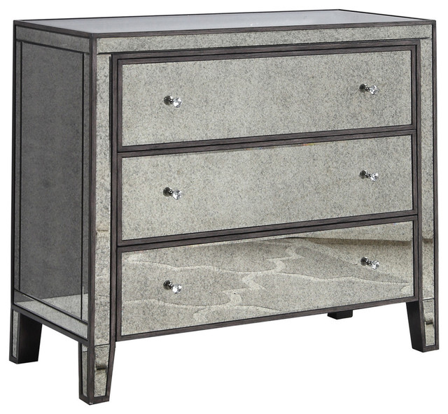 Gray Brown With Antique Mirror 3 Drawer