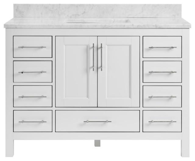 """Kendall White Bathroom Vanity, 48"""", Vanity With Carrara Marble Top"""