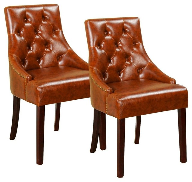 Fabulous Brown Upholstered Faux Leather Tufted Nailhead Trim Accent Chairs Inzonedesignstudio Interior Chair Design Inzonedesignstudiocom