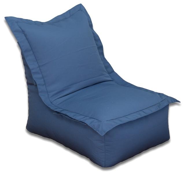 Outdoor Bean Bag Lounge Chair, Blue Contemporary Bean Bag Chairs