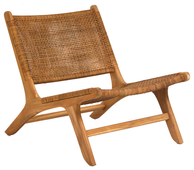 Woven Teak Lounge Chair Tropical Armchairs And Accent