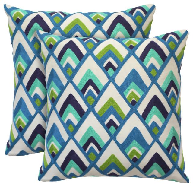 Sylvester Decorative Pillow, 18x18, Peacock, Set Of 2.