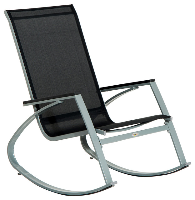 Outsunny Padded Steel Sling Porch Rocker Patio Chair