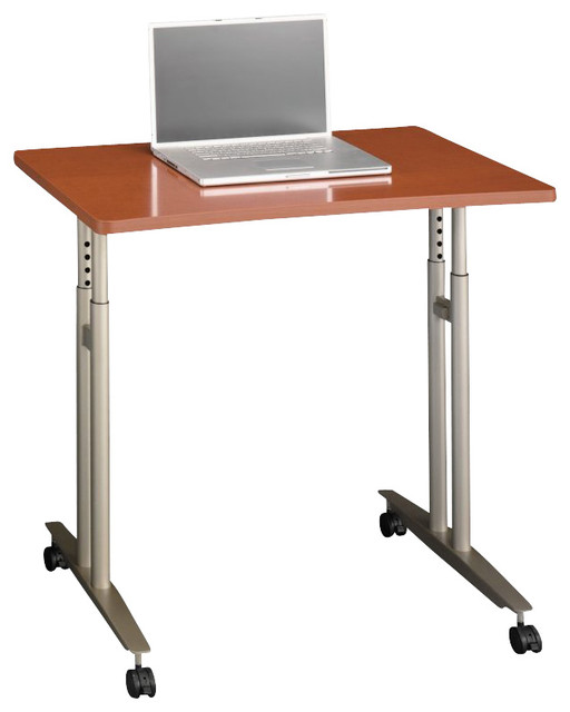 Bush Series C Adjustable Height Mobile Table In Auburn Maple Finish  Contemporary Office Carts
