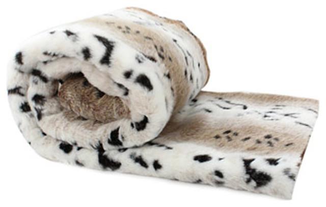 "Faux Love Thy Prey Throw, Spotted Leopard Fur, 50""x65""."