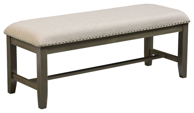 Omaha Upholstered Bench With Gray Base.
