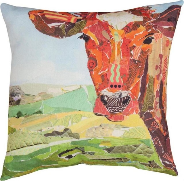 Farm Art Cow Print Indoor/Outdoor Decorative Throw Pillows, Set Of 2  Contemporary