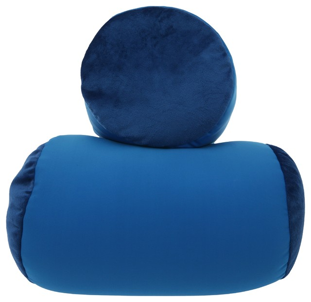Microbead Roll Bolster Squish Dark Blue Contemporary Awesome Decorative Neck Roll Pillow