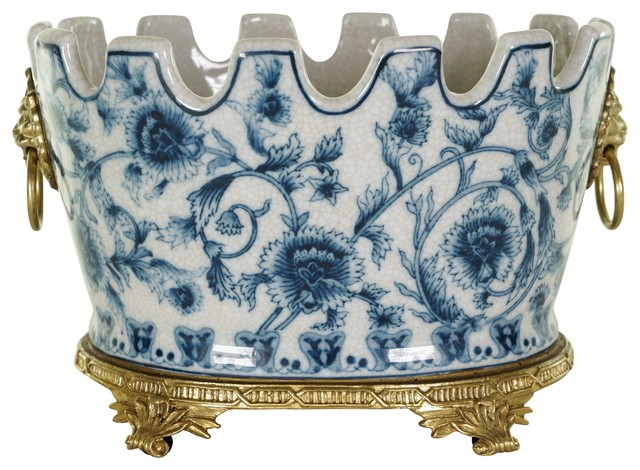 Oval Blue And White Chinoiserie Floral Crackle Scallop Rim Porcelain