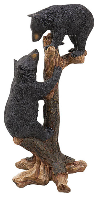 Climbing Cubs Black Bear Statue Rustic Garden Statues And Yard Art
