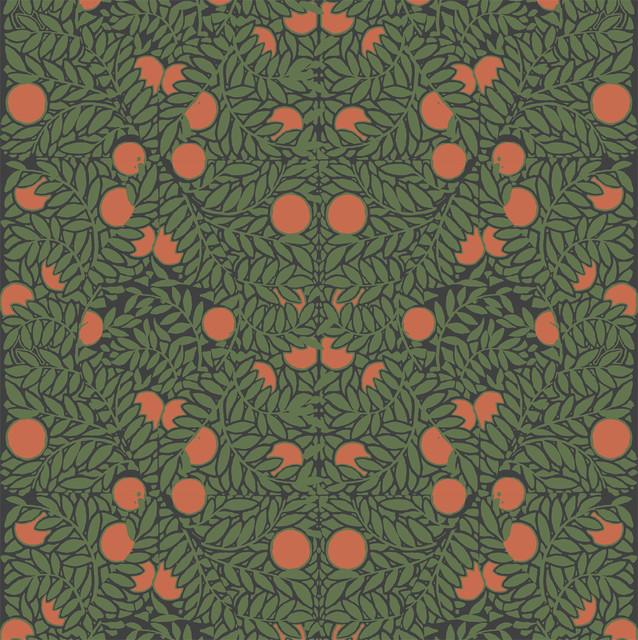 Orange Bush Wallpaper Premium Matte Paper, Forest/orange.
