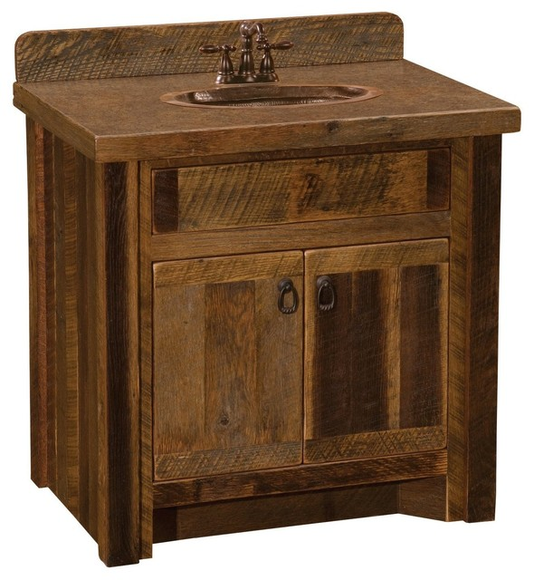 Barnwood Vanity 30 Without Top Sink Center Rustic Bathroom Vanities And Sink Consoles By Rustic Deco Houzz