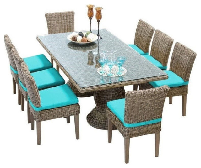 TK Classic Cape Cod 9 Piece Wicker Patio Dining Set