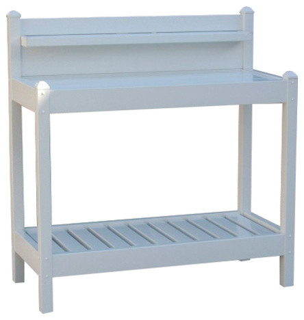 White Pvc Vinyl Potting Bench Outdoor Garden Bakers Rack