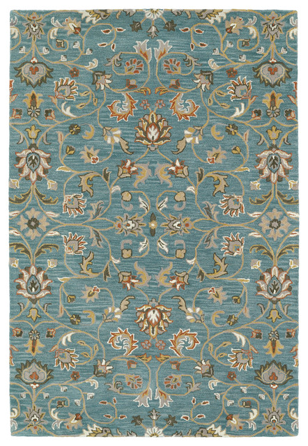 kaleen hand tufted middleton turquoise wool rug - traditional