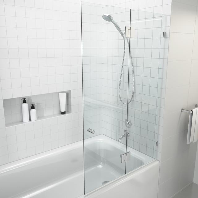 58 X34 Frameless Gl Bath Tub Shower
