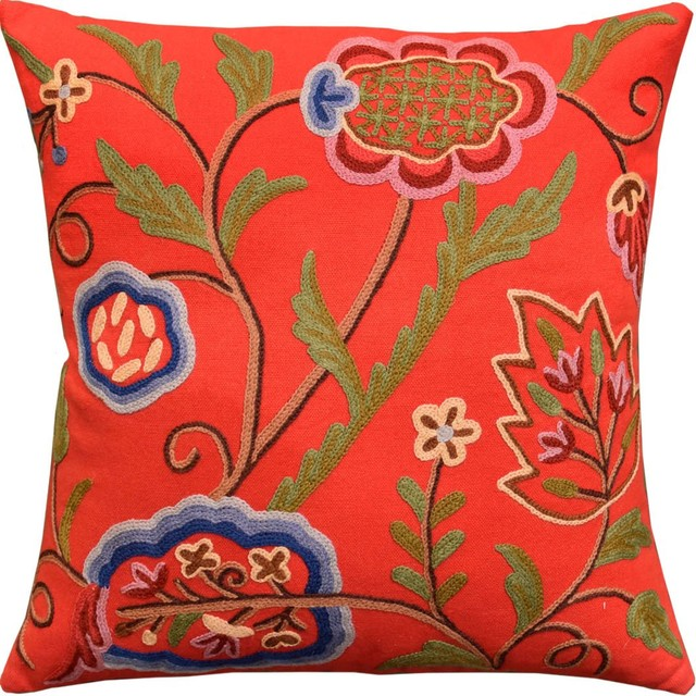 Red Floral Bloom Modern Decorative Pillow Cover Wool 18x18