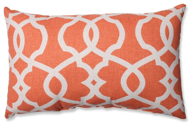 Lattice Damask Blue Rectangular Throw Pillow, Tangerine