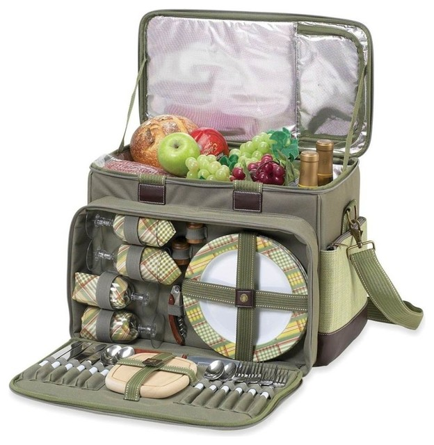 Hamptons Deluxe Picnic Cooler For 4, Olive Tweed.