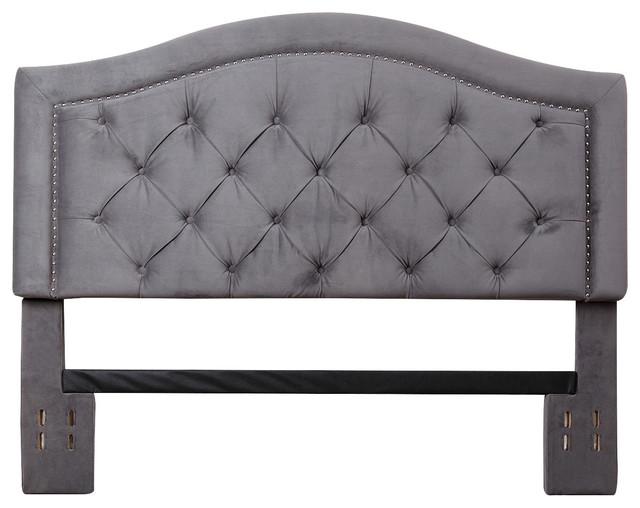 Austenne Velvet Headboard, Gray, King/cal-King.
