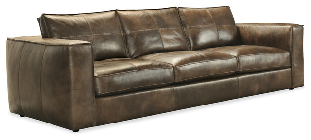 Solace Leather Stationary Sofa, Taupe