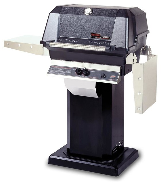 40000 Btu Lp Gas Grill Head With Column And Patio Post Base, Black.