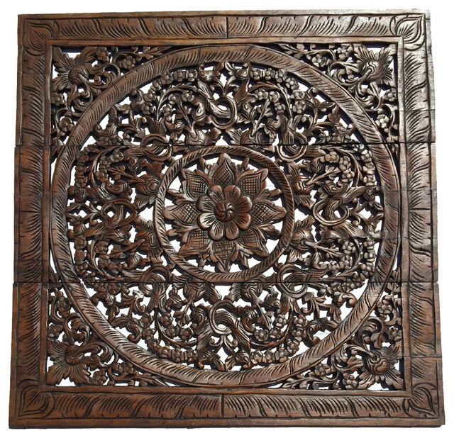 "Elegant Wood Carved Wall Panels. Asian Lotus Flower Wall Art Decor 36""."