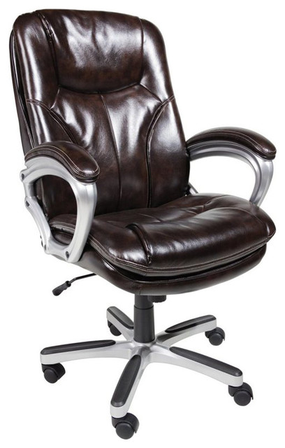 Serta Office Chair In Puresoft Brown Faux Leather