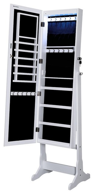 Lockable Jewelry Cabinet With Frameless Mirror Standing Armoire  Contemporary Jewelry Armoires