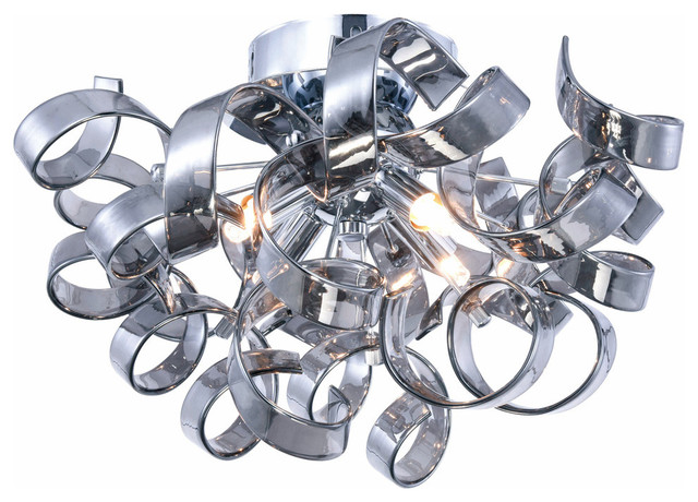 Ritz 4-Light Flush-Mount Light, Chrome Finish.