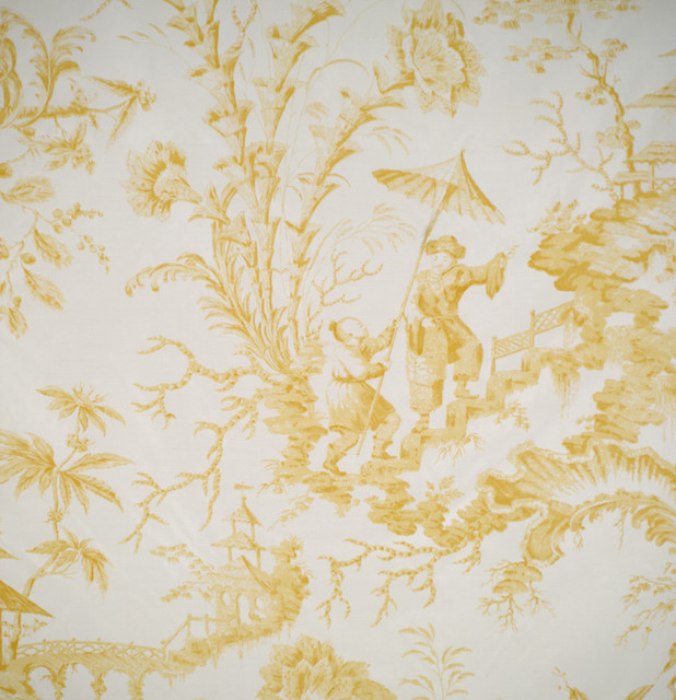 Pillement Toile Hand-printed Fabric, Yellow