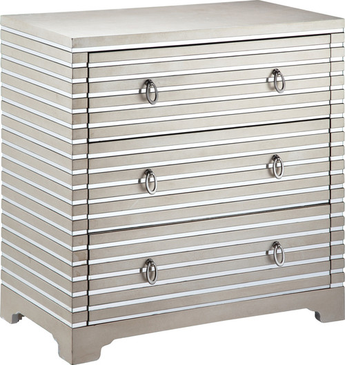 Stein World Foxy 12070 MDF Hardwood Glass Chest, Nickel and Champagne