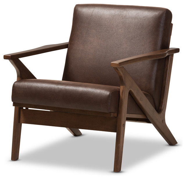 Bianca Mid-Century Modern Dark Brown Distressed Faux ...