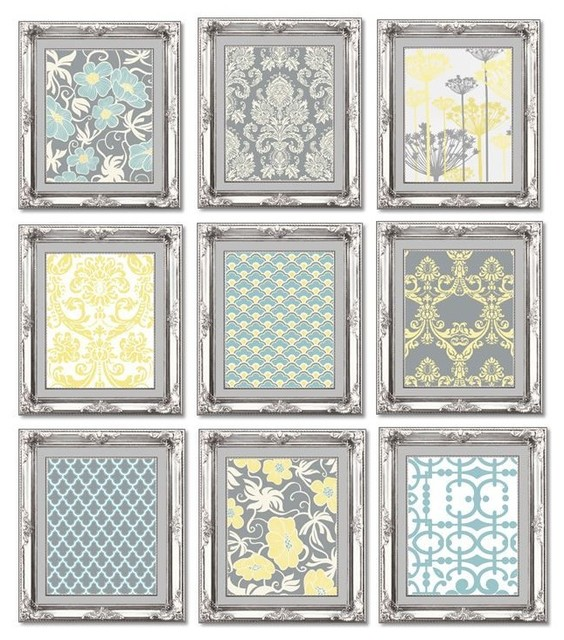 Gallery Wall Art Arrangement In Greyblue And Yellow Contemporary