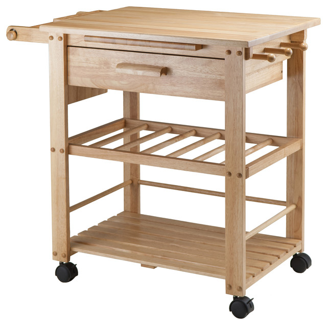 Merveilleux Wood Traditional Solid Wood Cart, Natural