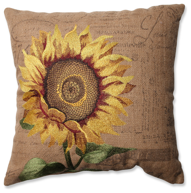Traditional Throw Pillows : Sunflower Burlap Throw Pillow - Traditional - Decorative Pillows - by Pillow Perfect Inc