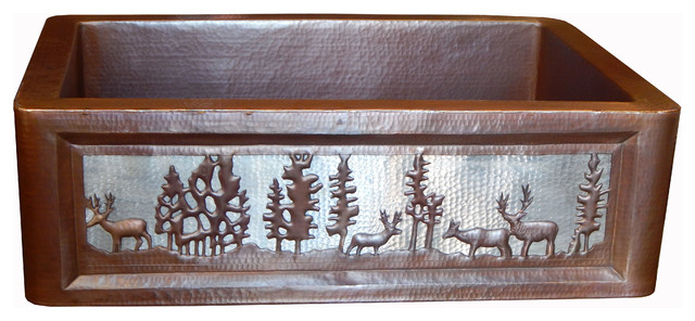 Apron Front Farmhouse Kitchen Mexican Copper Sink Pine Deer.