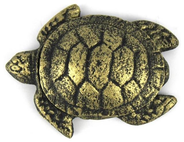 Antique Gold Cast Iron Decorative Turtle Paperweight 4'', Turtle Decoration