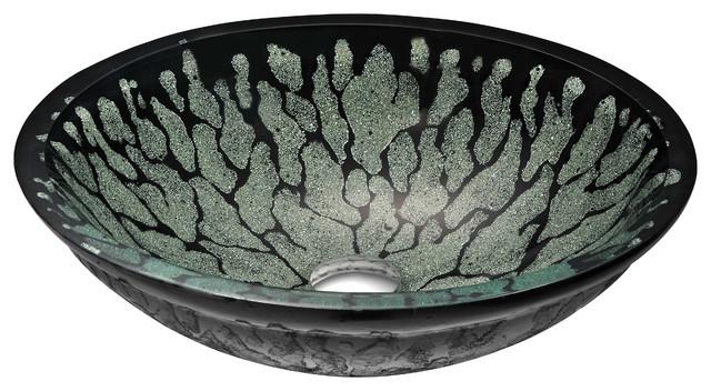 Bravo Series Deco-Glass Vessel Sink, Lustrous Black