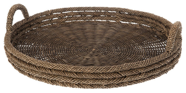 Round Serving Tray, Lampakanay and Wicker, Brown